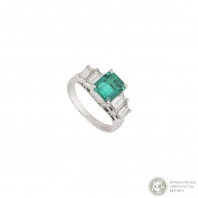 18k White Gold Emerald and Diamond Ring 1.66ct